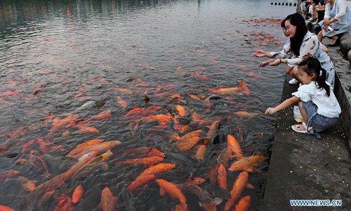 Los niños juegan con los peces del río Tongshanxi en la ciudad de Fuding, provincia de Fujian, sureste de China
