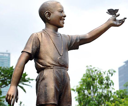 Levantado estatua de Obama de 10 años en Yakarta, capital de Indonesia