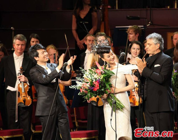 Song Zuying, Lang Lang, Bocelli celebran concierto en Londres