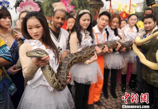 En v spera de a o de la serpiente joven china besa pit n - Que dias dan mala suerte en la cultura china ...