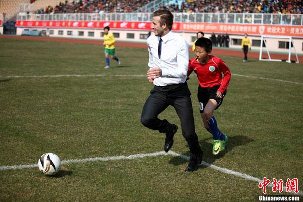 David Beckham continúa su gira por China